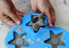 Magnets made with cement--they pop right out of a silicone mold!