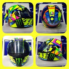 Valentino Rossi has revealed a new helmet design at the opening session of the 2016 MotoGP season in Qatar. Valentino Rossi Helmet, Motogp Valentino Rossi, Ducati Motogp, Yamaha, Agv Helmets, Hybrids And Electric Cars, Nicky Hayden, New Helmet, Motorbike Design