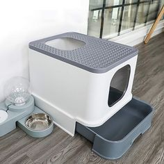 Cat Litter Box Top Entry Cat Sandbox Large Capacity Toilet Tray Closed Splash Drawer Style Tray Toilet Bedding Training Material: Plastic Feature: Semi-closed Type: Top Entry Litter Box Size: Color: Gray Fit for pets: Cats within Top Entry Litter Box, Hiding Cat Litter Box, Best Litter Box, Cat Litter Pan, Online Dog Training, Litter Box Enclosure, Box Tops, Cat Room, Buy A Cat