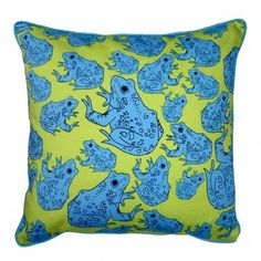 Green frog cushion by SjGuest Designs