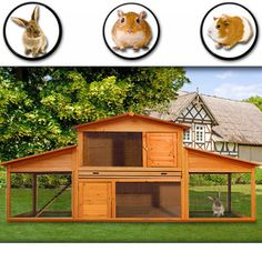 Wooden Rabbits Hutch Large Outdoor Cage Tiers Big Animals House Double Decker