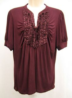 AUGUST SILK Options Size L Maroon Red Blouse Top Ruffle Short Sleeve Slot Neck #AugustSilk #Blouse #Casual