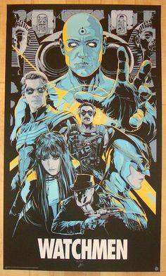 The Watchmen Variant Print DC Comics Ken Taylor Poster Alan Moore Mondo Glows Best Movie Posters, Cinema Posters, Movie Poster Art, Cool Posters, Poster Drawing, Music Posters, Print Poster, Art Print, Comic Movies