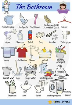 The Bathroom Vocabulary in English Measuring jug, toothpaste, razor, shaving cream, comb, mirror, shower and etc… Follow the list for visual expressions; Source: https://7esl.com