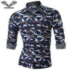 2c2673d627c9 VISADA JAUNA 2017 New Arrival Men shirt Social Camouflage Long Sleeve High  Quality Brand Clothing Chemise