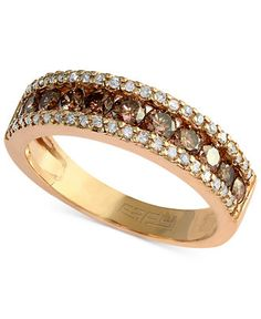 Espresso by EFFY Brown and White Diamond Three-Row Ring (7/8 ct. t.w.) in 14k Gold - Rings - Jewelry & Watches - Macy's