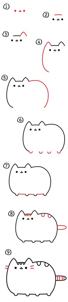 How to draw Pusheen the cat! How to draw Pusheen the cat! Kawaii Drawings, Cartoon Drawings, Easy Drawings, Funny Drawings, How To Draw Pusheen, How To Draw Cats, Gato Pusheen, Art For Kids Hub, Step By Step Drawing
