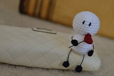 I like this because I'm able to use stash yarn. Pattern is very easy to work up and written well. I will crochet the feet and the heart and add those on this evening. I used a nail polish bo...