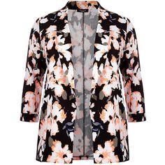 Plus Size Neon Orange and Black Floral Print Blazer ($39) ❤ liked on Polyvore
