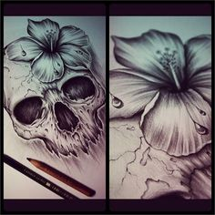 Skull and hibiscus tattoo Kunst Tattoos, Skull Tattoos, Sleeve Tattoos, Trendy Tattoos, New Tattoos, Side Tattoos, Water Tattoos, Badass Tattoos, Tattoo Sketches
