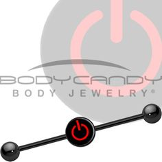 Red Power Button Industrial Barbell | Body Candy Body Jewelry