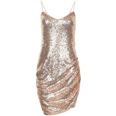 Parisian Shell Pink Sequin Ruched Side Dress found on Polyvore featuring polyvore, women's fashion, clothing, dresses, pink cocktail dress, sequin embellished dress, seashell dress, side gathered dress and brown sequin dress