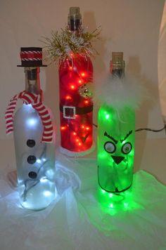 Holiday Wine bottle light Christmas wine bottle light wine image 4 - Famous Last Words Glass Bottle Crafts, Wine Bottle Art, Painted Wine Bottles, Lighted Wine Bottles, Bottle Lights, Liquor Bottles, Decorated Bottles, Bottle Bottle, Bottle Stoppers
