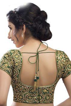 Kundan work dupion silk ready to wear blouse in Green Kundan work dupion silk ready to wear blouse in Green – Shop With Shanti Inc. Golden Blouse Designs, Simple Blouse Designs, Stylish Blouse Design, Wedding Saree Blouse Designs, Saree Blouse Neck Designs, Choli Designs, Mehndi Designs, Designer Blouse Patterns, Anarkali