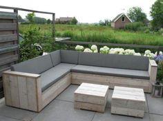 Steigerhout Hoekbank Loungesets Op Maat.===(GOEDKOOPSTE)===