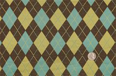 FP26026C Chocolate/Turquoise/Yellow Argyle Knits