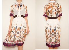 1970's linen print vintage dressTea length by VintageCosmopolitan