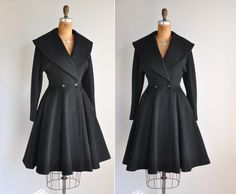 vintage 1950s black princess coat / Winter's Day.