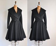 vintage 1950s black princess coat / Winter's Day.