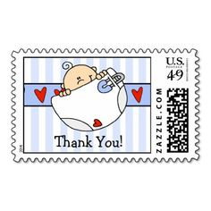 CUTE Baby Boy Thank You Postage Stamp! Make your own stamps more personal to celebrate the arrival of a new baby. Just add your photos and words to this great design.
