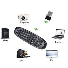 Wireless Air Mouse Keyboard Game Remote Controller For Macbook PC iPad Projector Smart TV Box Apple Watch Accessories, Ipad Accessories, Wearable Device, Pc Computer, Smart Tv, Iphone 4, Macbook, Keyboard
