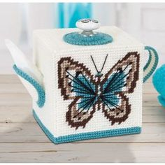 Butterfly Teapot Tissue Box Cover Plastic Canvas Kit: Make this plastic canvas tissue box cover using our kit. Plastic Canvas Box Patterns, Plastic Canvas Stitches, Plastic Canvas Coasters, Plastic Canvas Tissue Boxes, Plastic Canvas Crafts, Butterfly Crafts, Butterfly Canvas, Butterfly Pattern, Tissue Box Covers