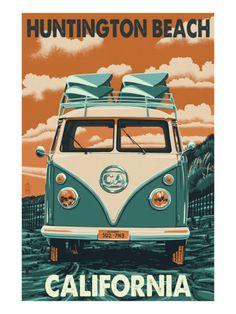 Huntington Beach, California - VW Van Art Print