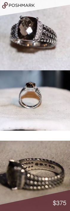 Authentic David Yurman Wheaton smokey ring 5.75 David Yurman petite wheaton ring with smokey topaz and diamonds. This ring is size 5.75 and comes as is without the pouch/box. The Ring is in good condition. Couple of scratches and some light wear. David Yurman Jewelry Rings