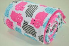 IN STOCK  Minky Baby Blanket  Fuchsia Hippo Minky  by BabyGowdy
