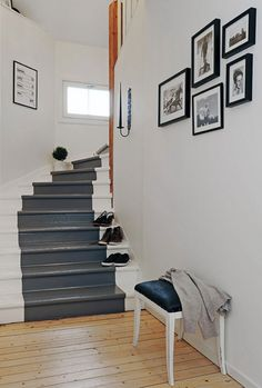 white painted stairs with grey painted runner