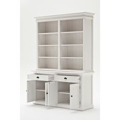 Beachcrest Home Amityville Library Bookcase Large Dresser, Large Drawers, Open Shelving Units, Beadboard Wainscoting, Shaker Style Doors, Solid Wood Shelves, Rustic White, Bookshelves, Painted Bookcases