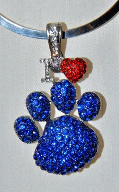 Rhinestone I Love Paw Pendant UK Wildcat Blue by GraciouslyVintage, $25.00