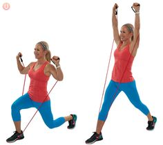 Chris Freytag demonstrating a resistance band lunge wearing a red top and blue workout pants. Resistance Tube Workout, Full Body Circuit Workout, All Body Workout, Best Resistance Bands, Resistance Band Exercises, Fat Burning Workout, Workout Pants, Golf Exercises, Dancer Body Workouts