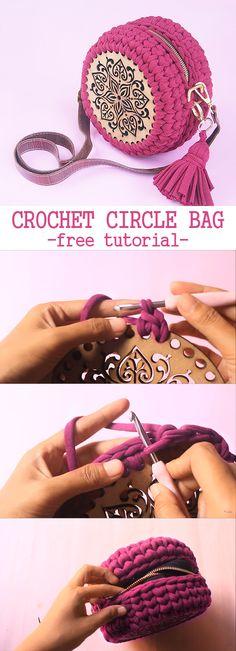 Crochet Circle Bag – Crochet World Bag Crochet, Crochet World, Crochet Gloves, Crochet Handbags, Crochet Purses, Crochet Yarn, Free Crochet, Designer Knitting Patterns, Knitting Designs