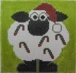 EASY SHEEP DECORATING - JUST LICK AND STICK - Annie Lane HP Needlepoint Canvas Christmas Ornament @ Pocket Full of Stitches