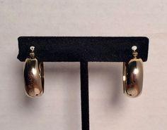 14 K GOLD POLISHED HOOP EARRINGS ETCHED DESIGN 3.6g CARLA YELLOW GOLD PIERCED  #CARLA #Hoop