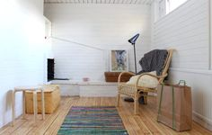 After: brick living room