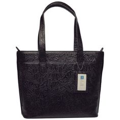 """Alicia Klein """"Jackie"""" Tooled Print Leather Laptop Briefcase. This beautiful leather laptop bag is perfect for meetings and travel."""