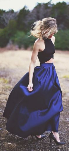 Full Lenght Maxi Skirt with Crop top and Black Hee...