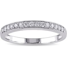 Miadora 10k White Gold 1/4ct TDW Diamond Anniversary Stackable Wedding... ($315) ❤ liked on Polyvore featuring jewelry, rings, white, round cut diamond rings, white diamond ring, round wedding rings, wedding band rings and pave diamond ring