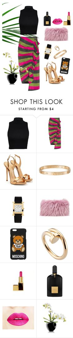 """summer look"" by helloume ❤ liked on Polyvore featuring Isa Arfen, Giuseppe Zanotti, Cartier, Hermès, Mr & Mrs Italy, Moschino, Tom Ford and Eva Solo"