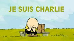 Magnus Shaw, editor of British magazine The Rocking Vicar, pasted the #JeSuisCharlie hashtag onto a Charlie Brown cartoon. / Cartoonists react to Paris attack