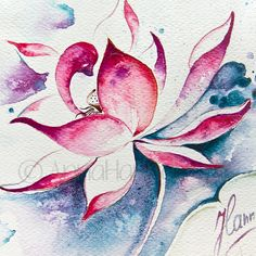pink white lotus flower freedom blue space by AnnaHannahArt