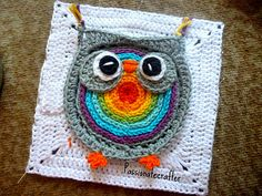 Biggie owl granny square - This listing is for the crochet granny square of Biggie owl . It measures 7' x 7' per square. You can use the square to make a baby blanket or throw.