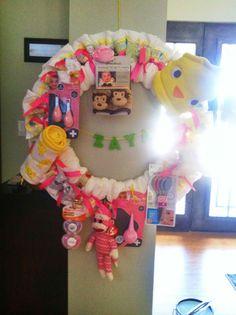 DIY baby shower diaper wreath