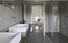 Inloopdouche in gepolierd beton