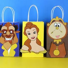 Beauty and the Beast Favor Bag - Disney - Die Schöne und das Biest / Beauty and the Beast - Diy Beauty And The Beast Party, Beauty And Beast Birthday, Princesse Party, Disney Princess Party, Princess Birthday, Party Favor Bags, Gift Bags, Goody Bags, Favor Boxes