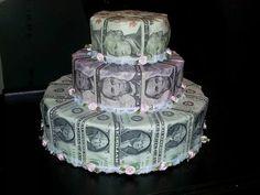 Money cake I made for my sons wedding shower. Dollar Origami, Money Origami, Money Birthday Cake, Birthday Gifts, Birthday Stuff, 2nd Birthday, Homemade Gifts, Diy Gifts, Creative Money Gifts