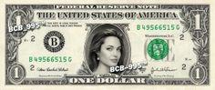 Angelina Jolie on Real Dollar Bill - 1.00 Celebrity Bill Custom Collectible Cash