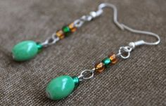 Boho Vintage Earrings Green&Orange Seed Beads Teal/Green Mint Bead Drop/Dangle   #Handmade #DropDangle
